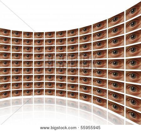 Wall of monitors showing Eyes