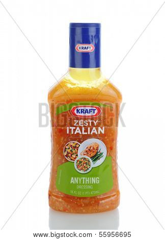 IRVINE, CA - JANUARY 11, 2013: A 16 oz. bottle of Kraft Zesty Italian Anything Dressing . Kraft Foods has 27 brands with sales in excess of $100 million annually.