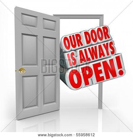 Our Door is Always Open Words Invitation Welcome
