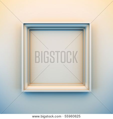 A 3d illustration blank template layout of empty white frame for insert picture, photo or text.