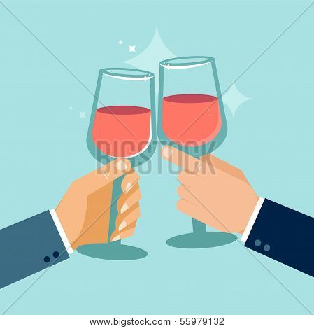 Vector Concept In Flat Style - Success Celebration