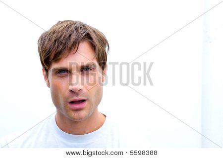 Upset Man Making An Expression