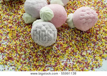 Marshmallow In Form Of Strawberries, And Sugar Balls