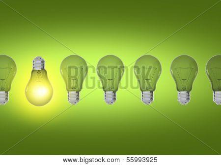 Green Bulbs Idea Concept