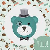 Vector Hipster  Bear Head greeting card design vector illustration. In Textured Frame and Hipster Pattern poster
