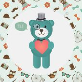 Vector Hipster Bear holding Heart greeting card design vector illustration. In Textured Frame and Hipster Pattern poster