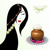 Illustration of a beautiful woman with pongal rice in a traditional mud pot on floral design called rangoli on occasion of Happy Pongal, harvest festival celebration in South India. poster