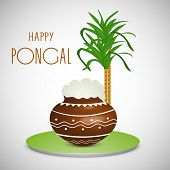Happy Pongal, harvest festival celebration in South India with pongal rice in a traditional mud pot and sugarcane on grey background.  poster