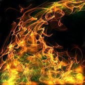 An abstract flames of fire illustration with toxic green smoke. poster
