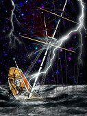 Sinking pirate brigantine on stormy seas poster