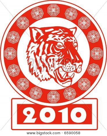 illustration of the chinese new year 2010 year of the tiger poster