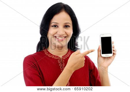 Happy Young Woman Holding Smart Phone