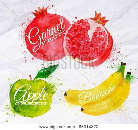 Fruit watercolor watermelon, banana, pomegranate, apple green
