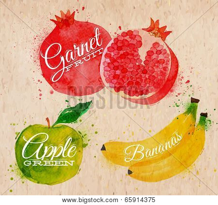 Fruit set drawn watercolor blots and stains with a spray banana, pomegranate, apple green in kraft poster