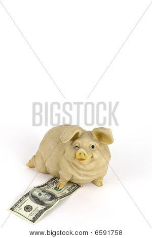 piggy bank and 100 u.s. dollar bill