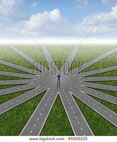 Direction choices and career decisions with a businessman standing in the center of a group of radial roads going in different paths as a business metaphor for government bureaucracy guidance and deciding on the best way towards success. poster