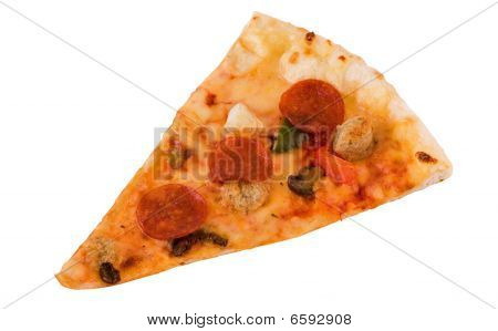 Photo Of Pizza Slice Isolated Over White Background