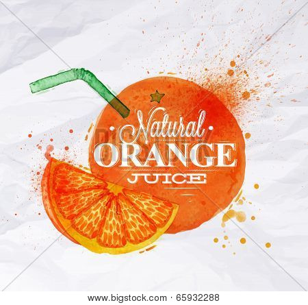 Poster watercolor orange juice