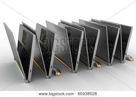 Laptops and computer mise as WWW on the white background. Concept of symbol Internet. 3d render illustration.