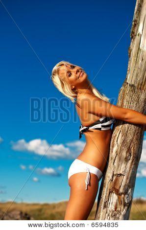 Beautiful Bikini Girl By The Beach