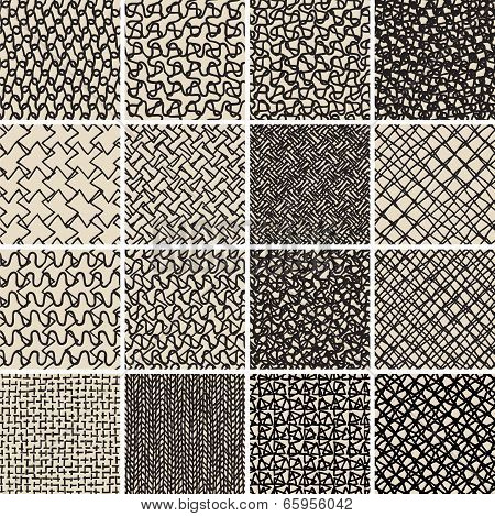 Basic Doodle Seamless Pattern Set No.8 In Black And White