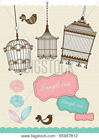 scrapbook elements with vintage birdcage