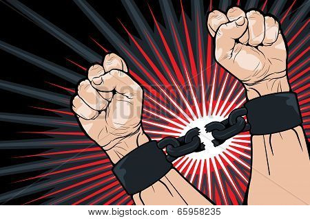 Conceptual image of breaking the bonds in a bid for for freedom and liberty with a strong man clenching his hands to snap the handcuffs around his wrists vector illustration poster