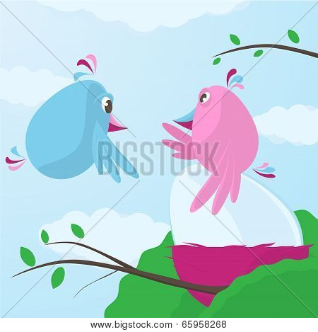 Cute Cartoon Birds Caring For A Large Egg