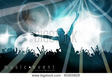 Music event illustration. Young people dancing on concert. Editable vector poster