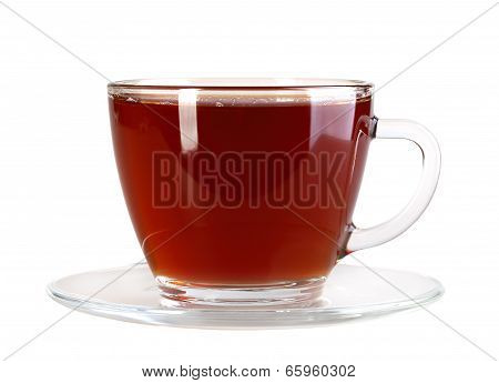 Glasses Cup And Saucer With Black Tea