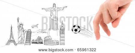 Finger and soccer ball in Soccer championship 2014