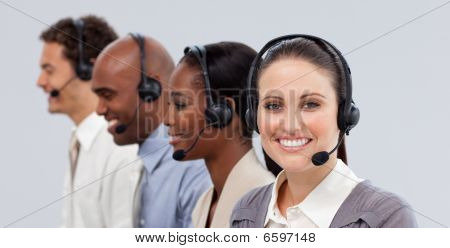 Close-up Of Customer Business Representatives With Headset On
