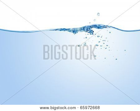 Water splash with bubbles of air, isolated on the white background.