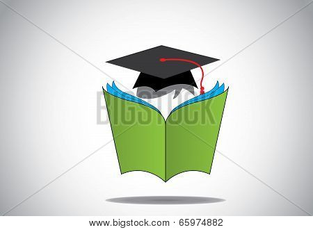 Professional Graduate Student With Graduation Day College Hat Reading Green Open Book