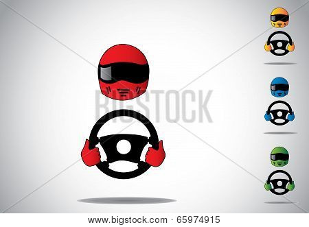Attractive Colored Colorful Racing Car Driver Helmet With Hands On Steering Wheel