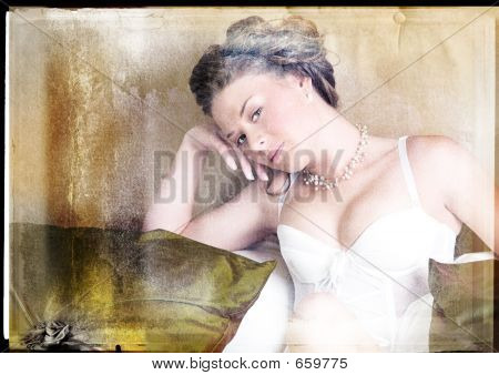Woman In Lingerie On Grunge Background