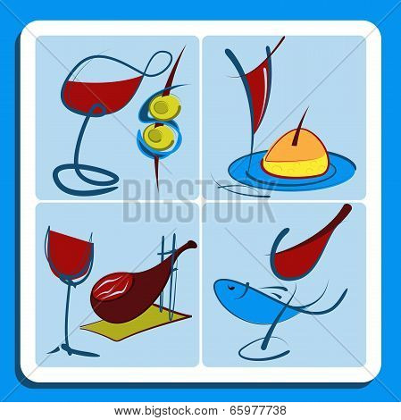 Colorful Doodle Sketches Of Spanish Wine