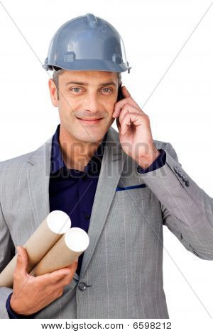 Confident Male Architect On Phone