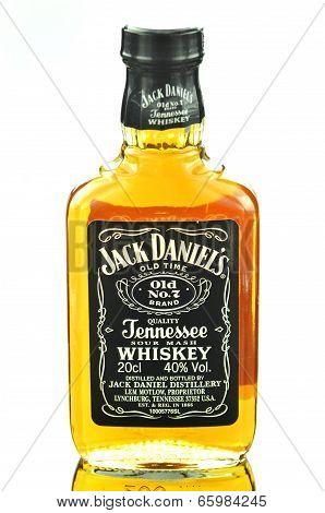 Small bottle of Jack Daniels whiskey isolated on white background
