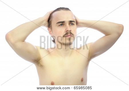 European Guy With Arms Behind His Head