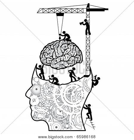 Brain under construction concept