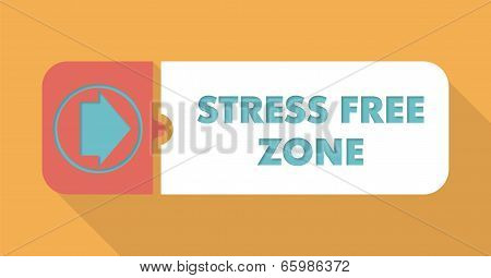 Stress Free Zone on Orange in Flat Design.