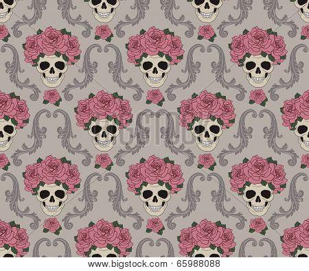 Skulls and roses damask pattern