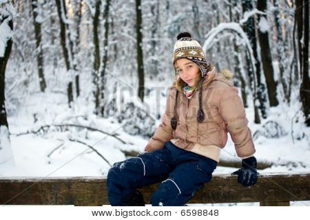 Teenage girl in the snow