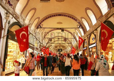ISTANBUL-APRIL 23:Main street of Grand Bazaar