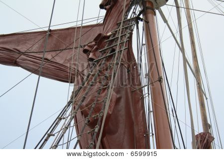 Detail of mast and rigging of square rigger.
