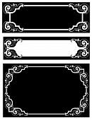 Vintage scrollwork page ornaments with leaf and scroll details for copy space or frame borders great for a wedding invitation, available in several different colors and layouts in gallery poster