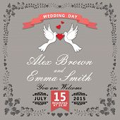 Wedding design template..Floral items with pigeons and ribbon. For Invitation .Vector illustration.Retro style poster
