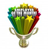 Employee of the Month Gold Trophy Award Top Performing Worker Recognition poster