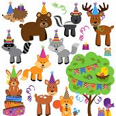 Vector Collection of Birthday Party Themed Forest or Woodland Animals poster